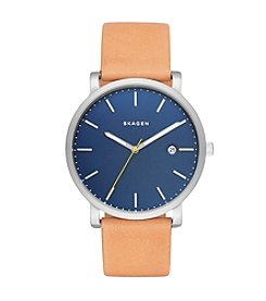 Skagen Denmark Men's Hagen Watch In Silvertone With Natural Leather Strap And Dark Blue Dial