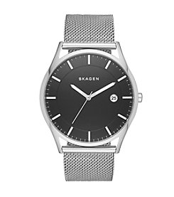 Skagen Denmark Men's Slim Holst Watch In Silvertone With Mesh Bracelet And Black Dial