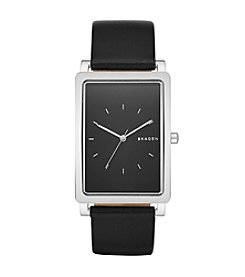 Skagen Denmark Men's Rectangle Hagen In Silvertone With Black Leather Strap