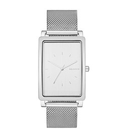 Skagen Men's Rectangle Hagen Watch in Silvertone with Mesh Bracelet