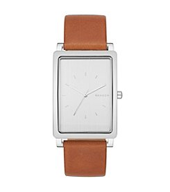 Skagen Denmark Men's Rectangle Hagen In Silvertone With Brown Leather Strap