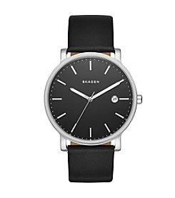 Skagen Denmark Men's Hagen Watch In Silvertone With Black Leather Strap And Black Dial