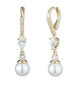 Anne Klein® Goldtone Faux Pearl Drop Earrings