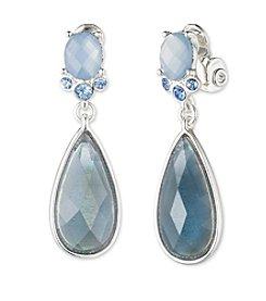 Anne Klein® Silvertone Blue Clip Drop Earrings