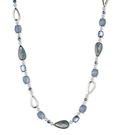 Anne Klein Silvertone Blue Collar Necklace