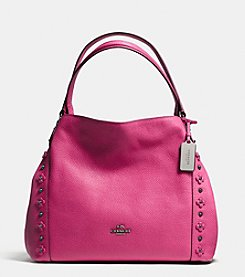 COACH EDI SHOULDER BAG 31 IN FLORAL RIVETS LEATHER
