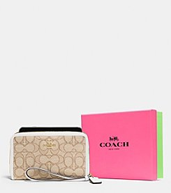 COACH BOXED ZIP AROUND ORGANIZER IN SIGNATURE JACQUARD