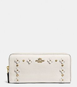 COACH SLIM ACCORDION ZIP WALLET IN FLORAL RIVETS LEATHER