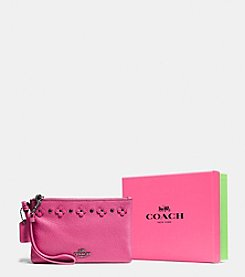 COACH BOXED SMALL WRISTLET IN FLORAL RIVETS LEATHER
