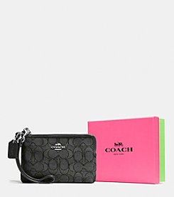 COACH BOXED CORNER ZIP IN SIGNATURE JACQUARD