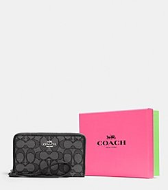 COACH BOXED ZIP CASE IN SIGNATURE JACQUARD