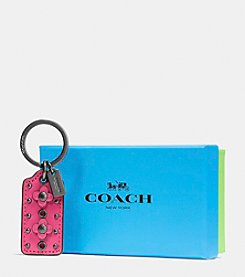 COACH BOXED FLORAL HANGTAG KEY RING