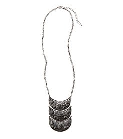 Relativity Silvertone Linear Flower Crescents Necklace
