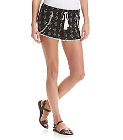 Boom Boom Diamond Print Crochet Trim Shorts