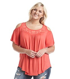 Living Doll® Plus Size Embroidered Cold Shoulder Tee