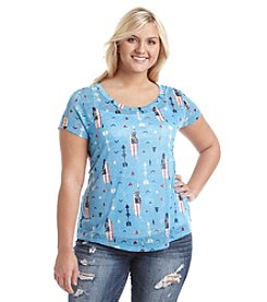 w.f. Plus Size Feathers And Arrows Printed Tee