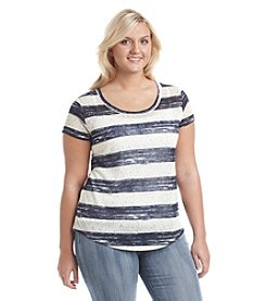 w.f. Plus Size Striped Printed Tee