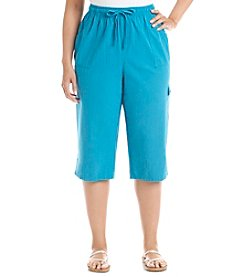 Breckenridge® Plus Size Cargo Sheeting Capri Pants