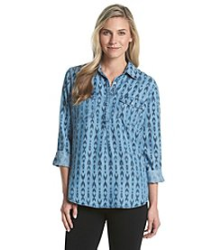 Earl Jean® Long Sleeve Geo-Print Half Buttoned Chambray Top