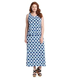 Rafaella® Plus Size Printed Tie-Dye Maxi Dress