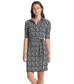 Jessica Howard® Grid Patterned Shirt Dress