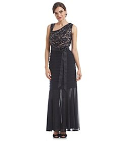 R&M Richards® Petites' Lace Sheer Gown Dress
