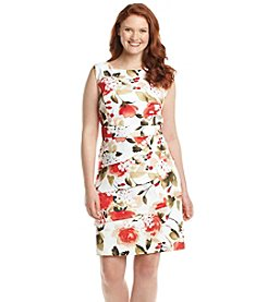 Connected Plus Size Tiered Floral Sheath Dress