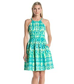 Calvin Klein Printed Fit And Flare Scuba Dress