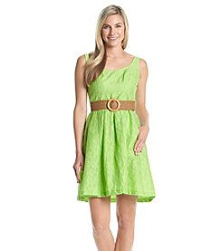 Nine West® Topstitch Belted Dress