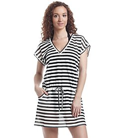 Calvin Klein Striped Drawstring Tunic Cover-Up