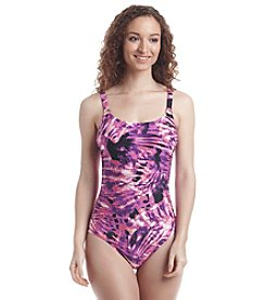 Calvin Klein Sundial Print Shirred Malliot One Piece