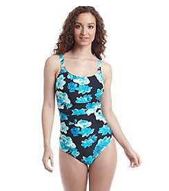Calvin Klein Orchid Print Shirred Malliot One-Piece