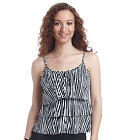 Caribbean Joe® Etch Stripe Triple Tier Tankini Top
