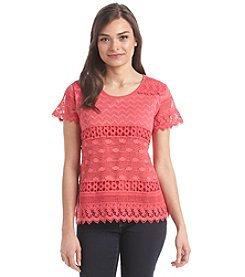 Notations® Petites' Lace Top