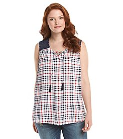 Relativity® Plus Size Plaid Tie Neck Tank