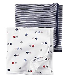 Carter's® Baby Boys 2-Pack Sports And Stripes Swaddle Blankets