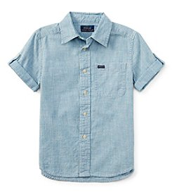 Ralph Lauren Childrenswear Boys' 8-20 Short Sleeve Chambray Button Down Shirt