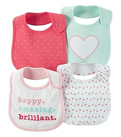 Carter's® Baby Girls' 4-Pack Happy Geo Bibs