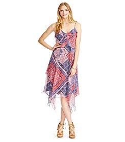 Jessica Simpson Printed Hankie Hem Dress