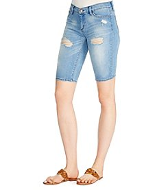 Jessica Simpson Destructed Bermuda Jean Shorts