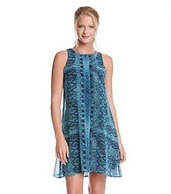 Karen Kane® Sheer Diamond Tile Dress