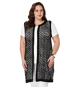 Rafaella® Plus Size Long Laser Cut Vest