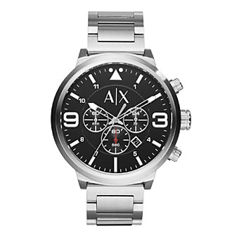 AX Armani Exchange Men's Silvertone Stainless Steel Watch With Black Dial