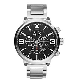 A|X Armani Exchange Men's Silvertone Stainless Steel Watch With Black Dial