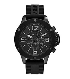 A|X Armani Exchange Men's Black IP Stainless Steel Watch With Black Silicone Straps