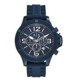 A|X Armani Exchange Men's Blue IP Stainless Steel Watch With Blue Silicone Straps
