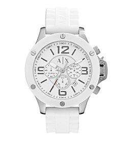A|X Armani Exchange Men's Stainless Steel Watch With White Silicone Straps And White Top Ring