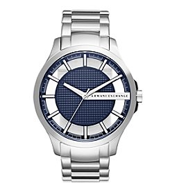 A|X Armani Exchange Men's Silvertone Stainless Steel Watch With Navy Dial
