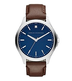 A|X Armani Exchange Men's Silvertone Stainless Steel Watch With Brown Leather Straps And Diamond On Blue Dial