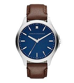 A|X Armani Exchange Diamond Accent Dark Brown Leather Strap Watch